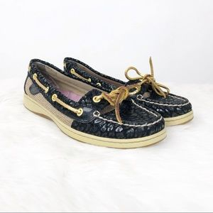 🍎Sperry Black Leopard Embossed Boat Shoes Loafers